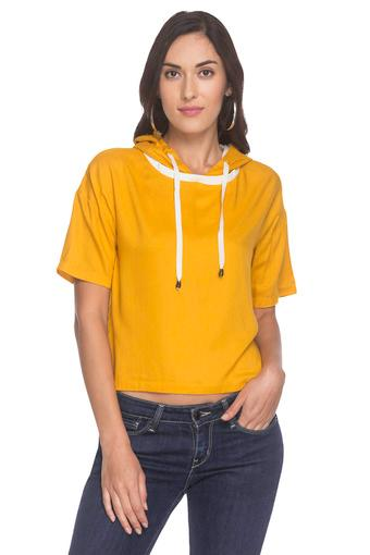 Womens Hooded Solid Top