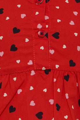 Girls Regular Fit Collared Printed Flared Dress