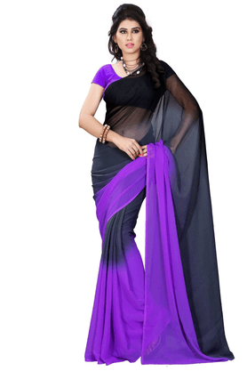 DEMARCA De Marca Black::Purple Georgette Designer DF-556A Saree