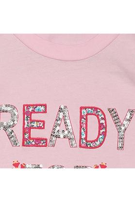 Girls Round Neck Sequined Tee