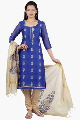 JASHN Women Cross Stitch Embroidered Chanderi Churidaar Kameez Dupatta