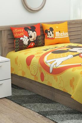 Mickey Mouse Printed Double Bed Sheet with 2 Pillow Covers