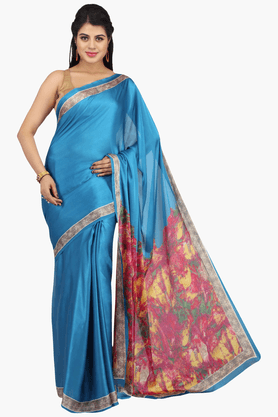 JASHN Womens Solid Saree With Blouse Piece - 201313017