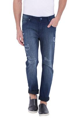 BLUE SAINT Mens Distressed Mid Rise Slim Fit Jeans  ...
