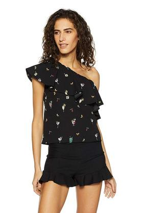 Womens One Shoulder Neck Printed Top