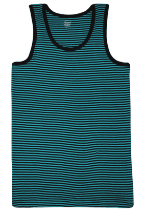 HANES Mens Sleeveless Slim Fit Round Neck Stripe Vest