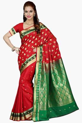 ISHIN Women Cotton Woven Saree With Rich Pallu