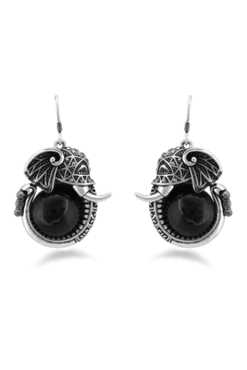 JAZZ Simple Ganesh Design Black Colour Earrings