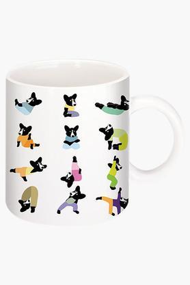 CRUDE AREACorgi Yoga Printed Ceramic Coffee Mug By Natasa