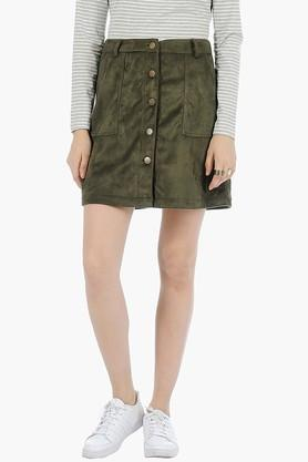 FABALLEY Womens Solid Short Skirt - 201993904