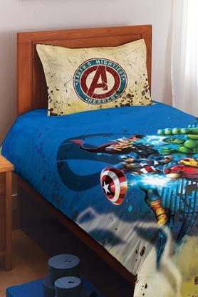 SPACESMarvel Avengers Blue Cotton Single Bed Sheet With 1 Pillow Cover