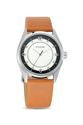 Mens White Dial Leather Analogue Watch - 1729SL03