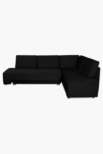 Black Fabric Sectional Sofa Bed (3 Seater - 1 Lounger)