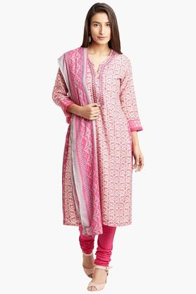 BIBA Womens Poly Cotton Straight Suit Set - 202179609
