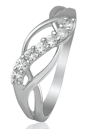MAHIRhodium Plated Glittery Turns Finger Ring With CZ For Women FR1100437R