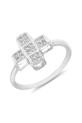 MAHI Mahi Rhodium Plated Spiritual Cross Fingering With CZ For Women FR1100103R
