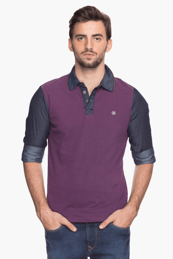 Mens Full Sleeves Slim Fit Colour Block Polo T-Shirt