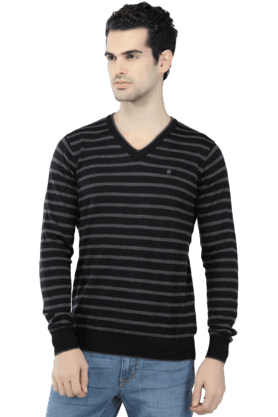 LOUIS PHILIPPE Mens Full Sleeves V Neck Slim Fit Stripe Sweatshirts