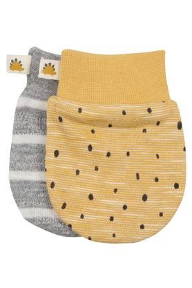 Unisex Printed and Stripe Mittens Pack of 2