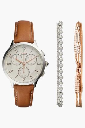 FOSSIL Womens Chronograph Leather Watch And Bracelets Set