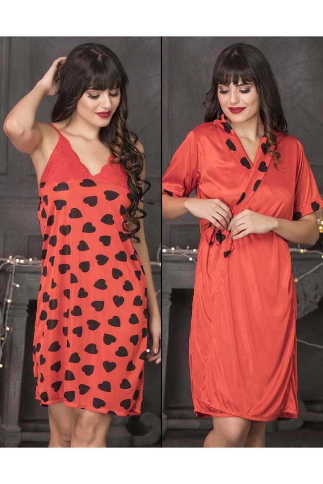 Womens Heart Print Short Night Dress & Robe