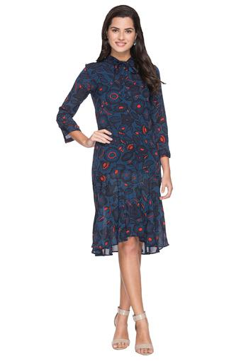 Womens Tie Up Neck Printed Knee Length Dress