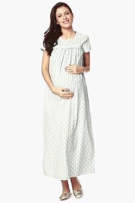 NINE MATERNITY Womens Round Neck Printed Dress - 202345135