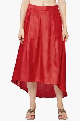 GLOBAL DESIWomen's Solid High Low Skirt