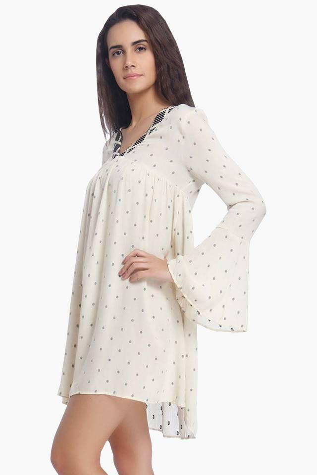 Womens V Neck Printed Flared Dress