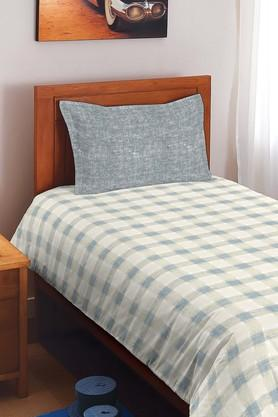 SPACES Cotton Check Single Bedsheet With Pillow Cover