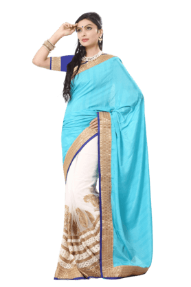DEMARCA Women Georgette Saree (Buy Any Demarca Product & Get A Pair Of Matching Earrings Free) - 200875711