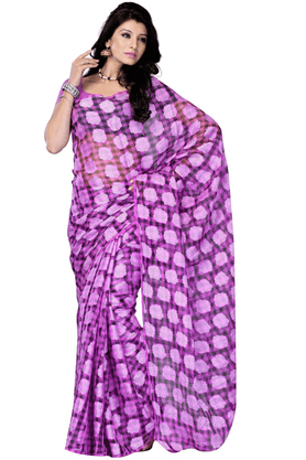 DEMARCA De Marca Purple Net::Jacquard Designer DF-300B Saree