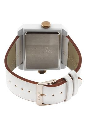 Mens Omax Masterpiece White Dial Leather Analogue Watch - FA9-TS455