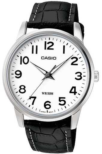 Enticer - Leather Strap Watch with White Round Dial