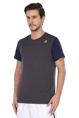 Mens Round Neck Solid Sports T-Shirt