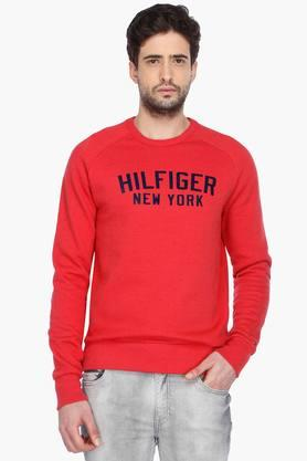 TOMMY HILFIGERMens Full Sleeves Round Neck Printed Sweater