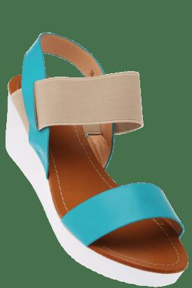 FLAUNTWomens Multi Coloured Elastic Closure Wedge Sandal
