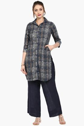 BIBA Womens Collared Printed Shirt Kurta
