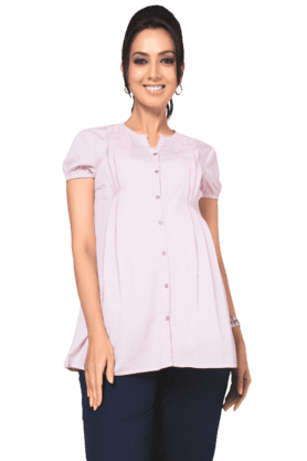 NINE MATERNITY Maternity Formal Shirt In Pink Stripes With Braided Tape Details