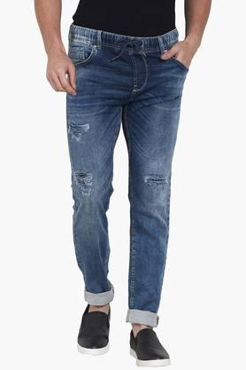 CELIOMens 5 Pocket Skinny Fit Distressed Jeans