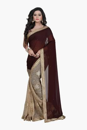 Women Chiffon Half & Half Floral With Lace Embellished Saree