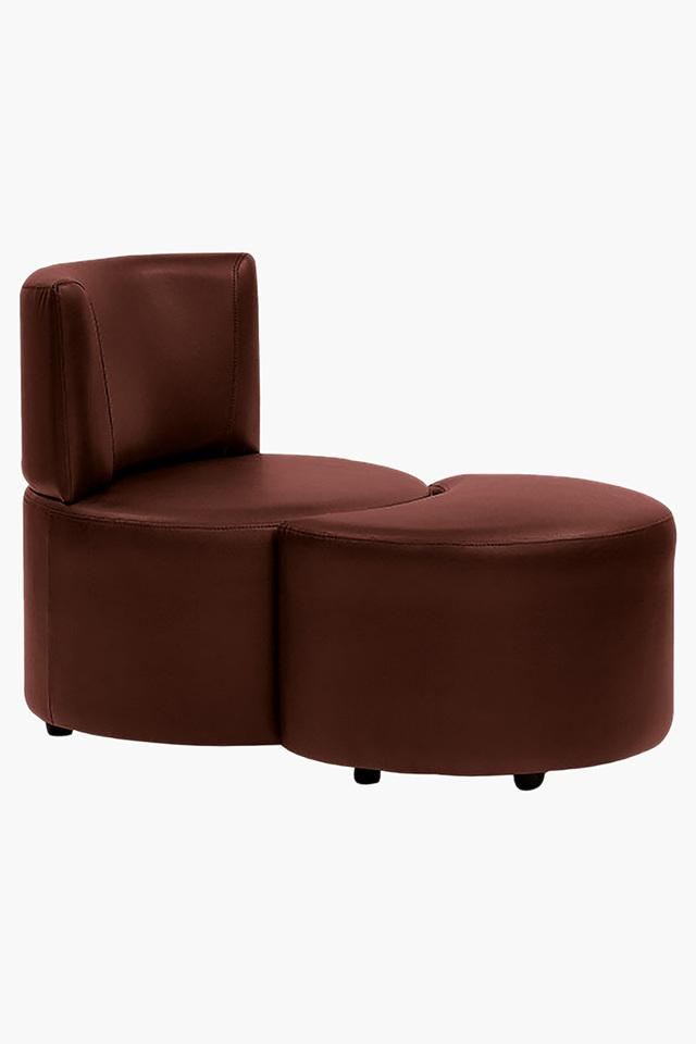 Garnet Cherry Leatherette Modular Sofa (1 Seater - 1 Pouf )