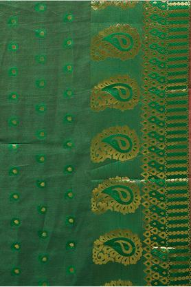 Womens Golden Woven Saree with Blouse Piece