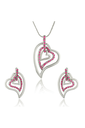 MAHIRhodium Plated Three Hearts Pendant Set With Pink Crystals For Women NL1101768RPin