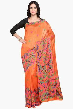Womens Art Silk Thread Work Saree With Blouse Piece
