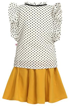 Girls Ruffled Collar Printed Top and Skirt Set