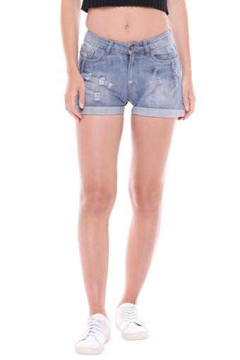 DISHA PATANI FOR GLAM LIFESTYLE -  Denim Indigo Light Shorts - Main