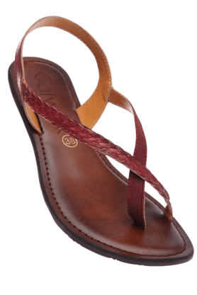 CATWALKWomens Red Slipon Flat Sandal