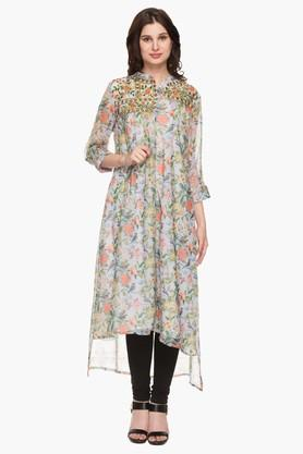 RS BY ROCKY STAR Womens Mandarin Neck Printed High Low Kurta