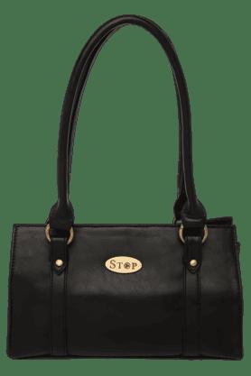 STOPWomens Leather 2 Compartment Zipper Closure Shoulder Bag
